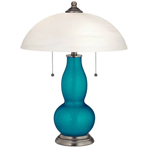 Turquoise Metallic Gourd-Shaped Table Lamp with Alabaster Shade