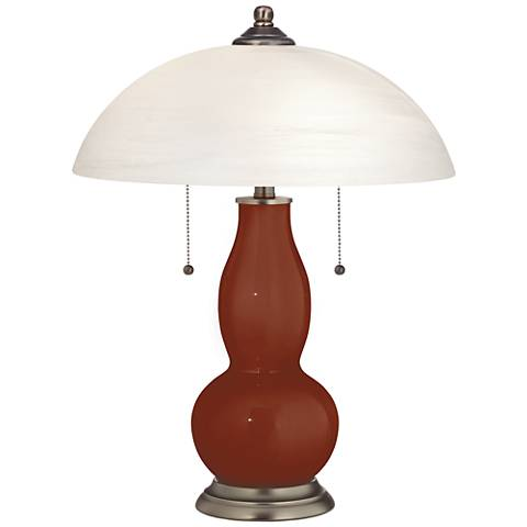 Fired Brick Gourd-Shaped Table Lamp with Alabaster Shade
