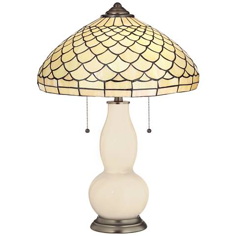 Steamed Milk Gourd Table Lamp with Scalloped Shade