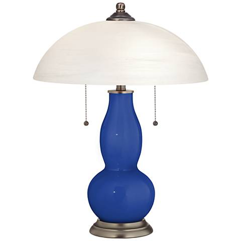 Dazzling Blue Gourd-Shaped Table Lamp with Alabaster Shade