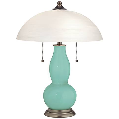 Rapture Blue Gourd-Shaped Table Lamp with Alabaster Shade