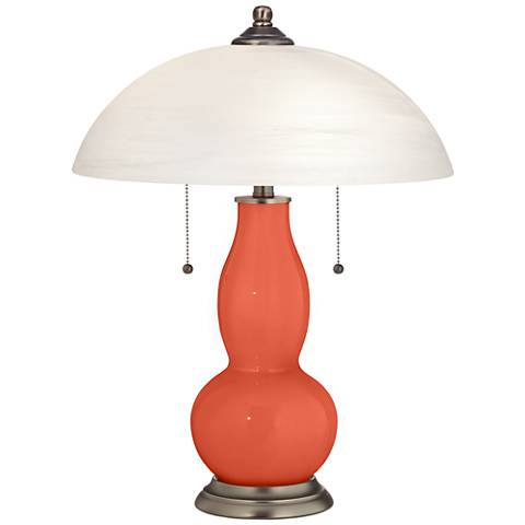 Daring Orange Gourd-Shaped Table Lamp with Alabaster Shade