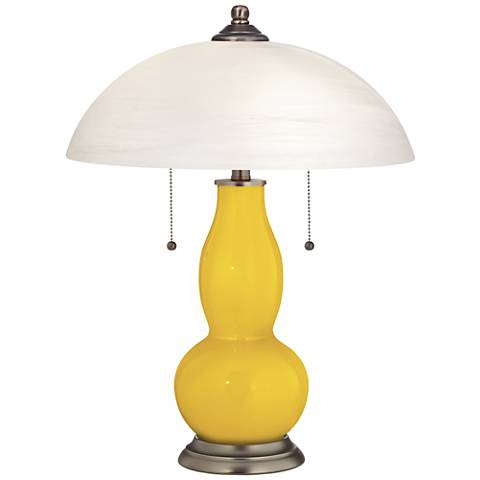Citrus Gourd-Shaped Table Lamp with Alabaster Shade