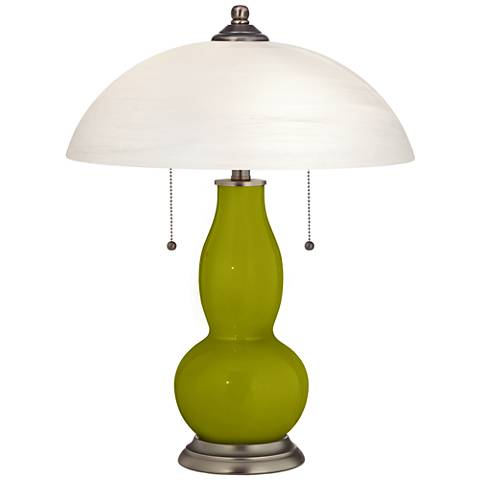 Olive Green Gourd-Shaped Table Lamp with Alabaster Shade
