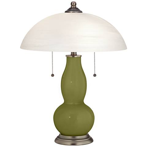 Rural Green Gourd-Shaped Table Lamp with Alabaster Shade