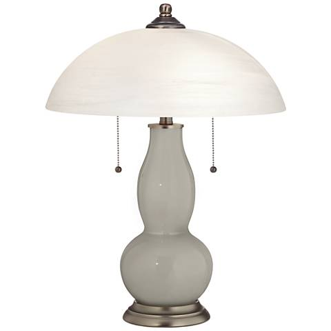 Requisite Gray Gourd-Shaped Table Lamp with Alabaster Shade