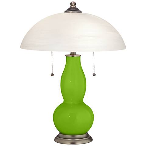 Neon Green Gourd-Shaped Table Lamp with Alabaster Shade
