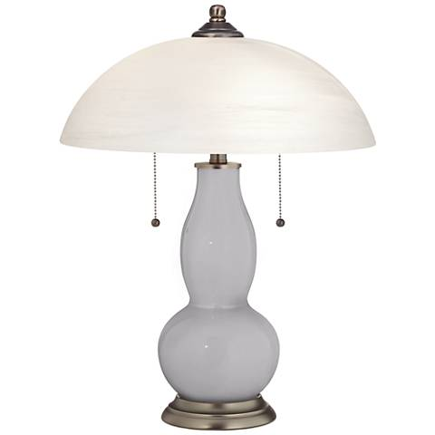 Swanky Gray Gourd-Shaped Table Lamp with Alabaster Shade