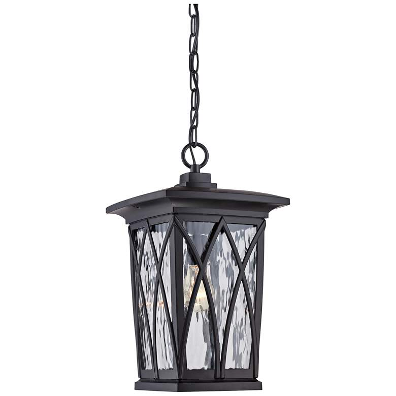 "Quoizel Grover 17 1/2""H Mystic Black Outdoor Hanging Light"