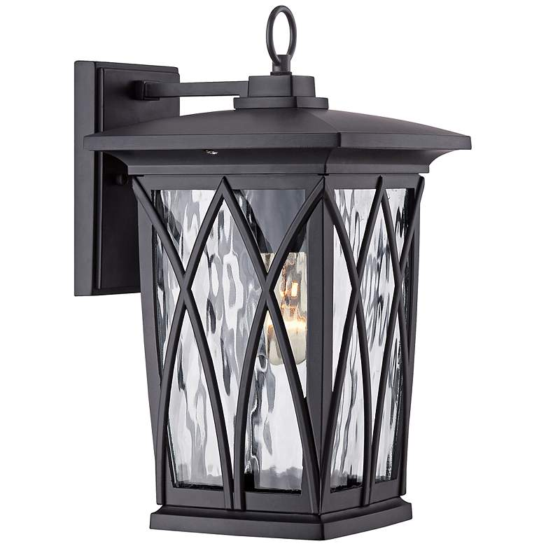 """Quoizel Grover 14 1/2""""H Mystic Black Outdoor Wall Light"""
