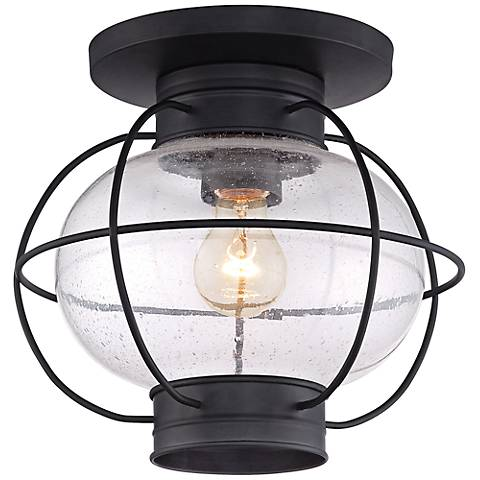 "Quoizel Cooper 10 1/2""H Mystic Black Outdoor Ceiling Light"