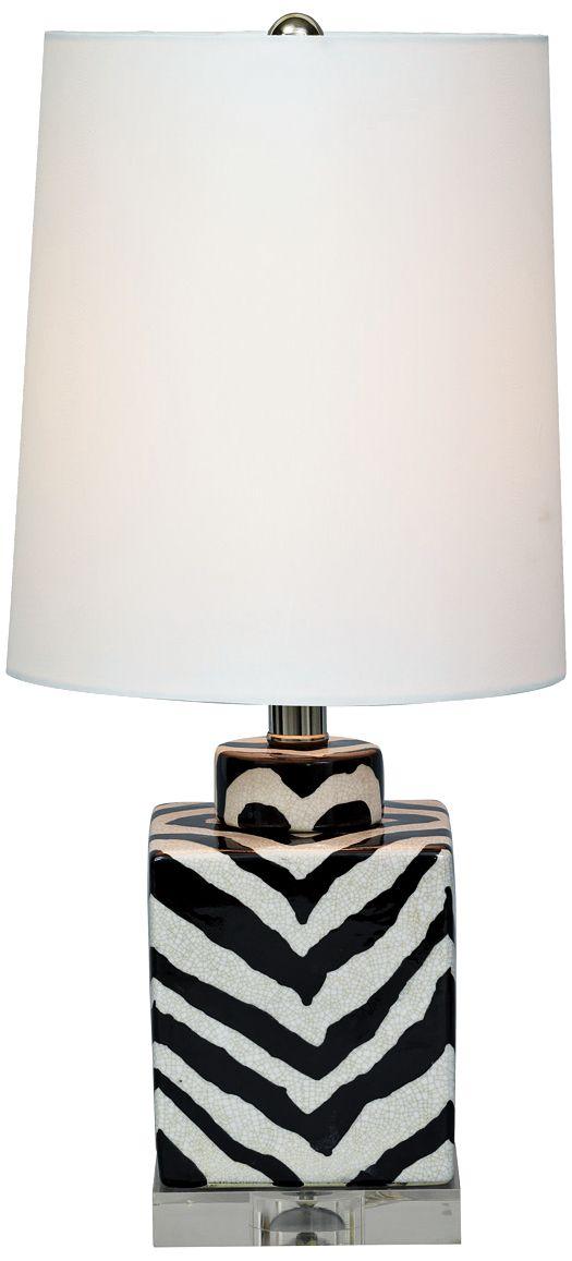 Port 68 Kenya Mini Black Oval Zebra Porcelain Table Lamp