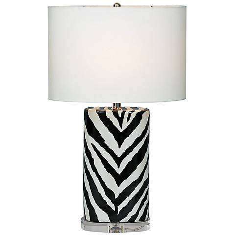 Port 68 Kenya Black Oval Zebra Porcelain Table Lamp