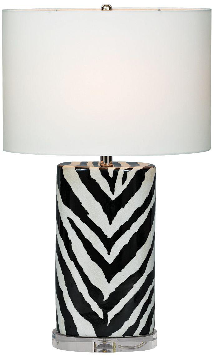 Delightful Port 68 Kenya Black Oval Zebra Porcelain Table Lamp