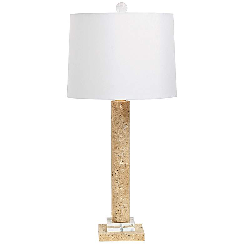 Port 68 Athens Natural Marble Column Table Lamp