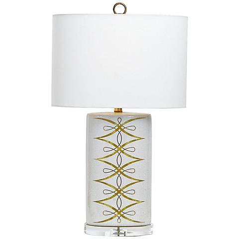 Port 68 Zelda Antiqued Cream Crackle Porcelain Table Lamp
