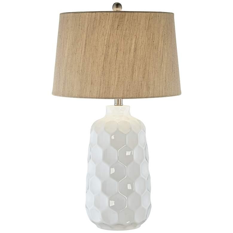 Kathy Ireland Honeycomb White Ceramic Table Lamp