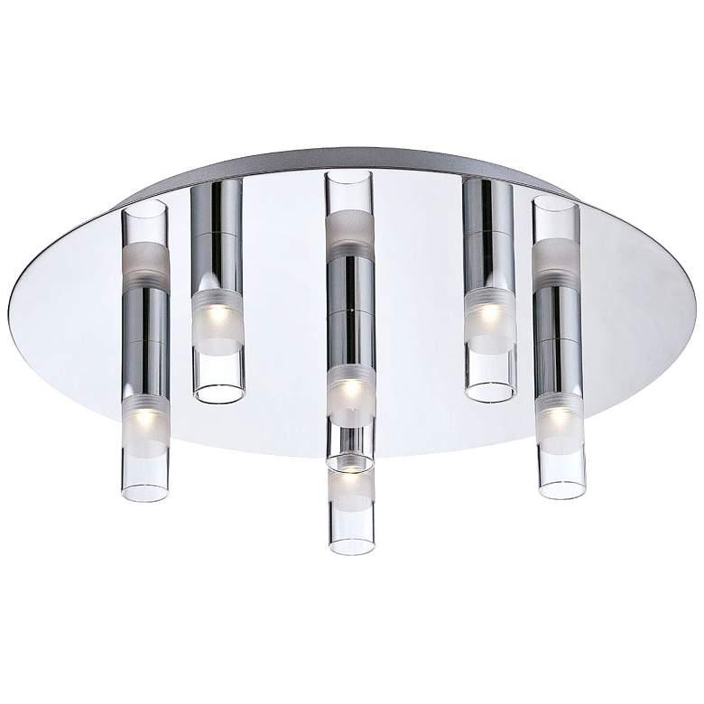 "Eurofase Cube 13 3/4"" Round 6-LED Chrome Ceiling Light"