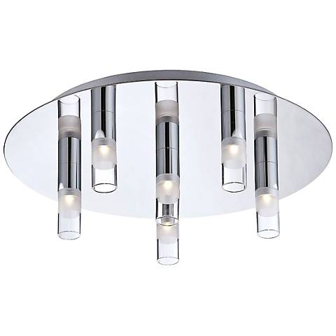 "Eurofase Cube 13 3/4"" Round 6-LED Chrome Ceiling Light"