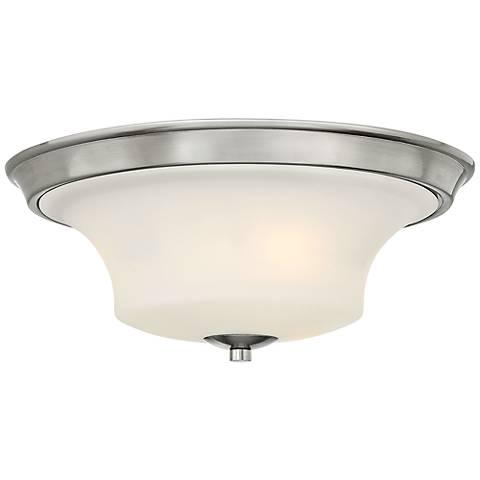 """Hinkley Brantley 17"""" Wide Brushed Nickel Ceiling Light"""