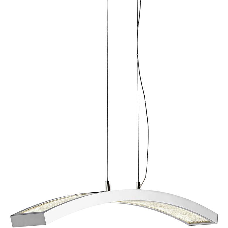 "Elan Crushed Ice 36""W Chrome LED Island Pendant Light"