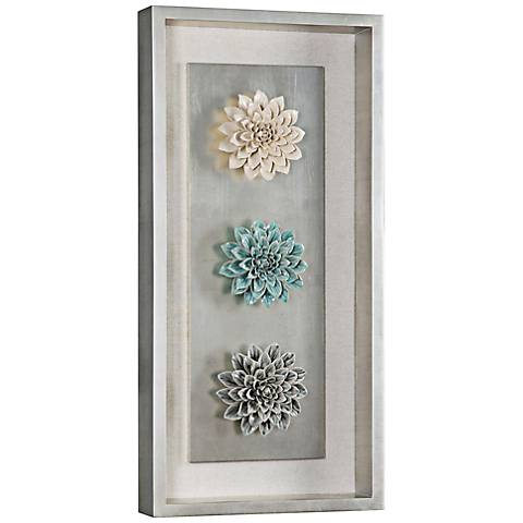 "Florenza Pastel Ceramic Flower 34"" High Framed Wall Art"