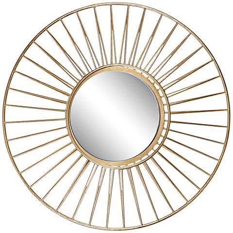 "Caspian Antiqued Gold Leaf 30"" Round Wall Mirror"