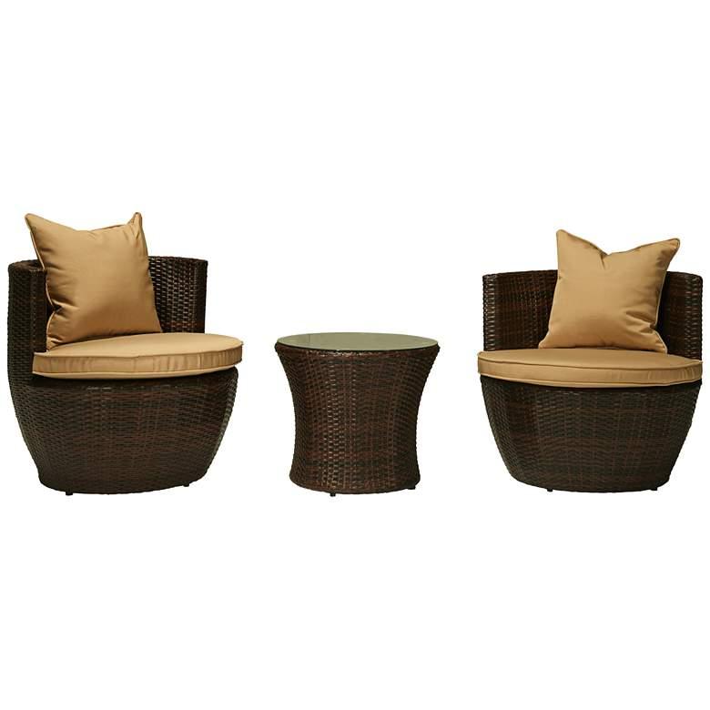 Perry Espresso Brown Wicker 3-Piece Outdoor Seating Set