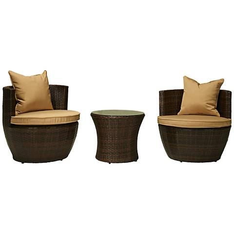 Perry Espresso Brown Wicker 3-Piece Outdoor Seating Set