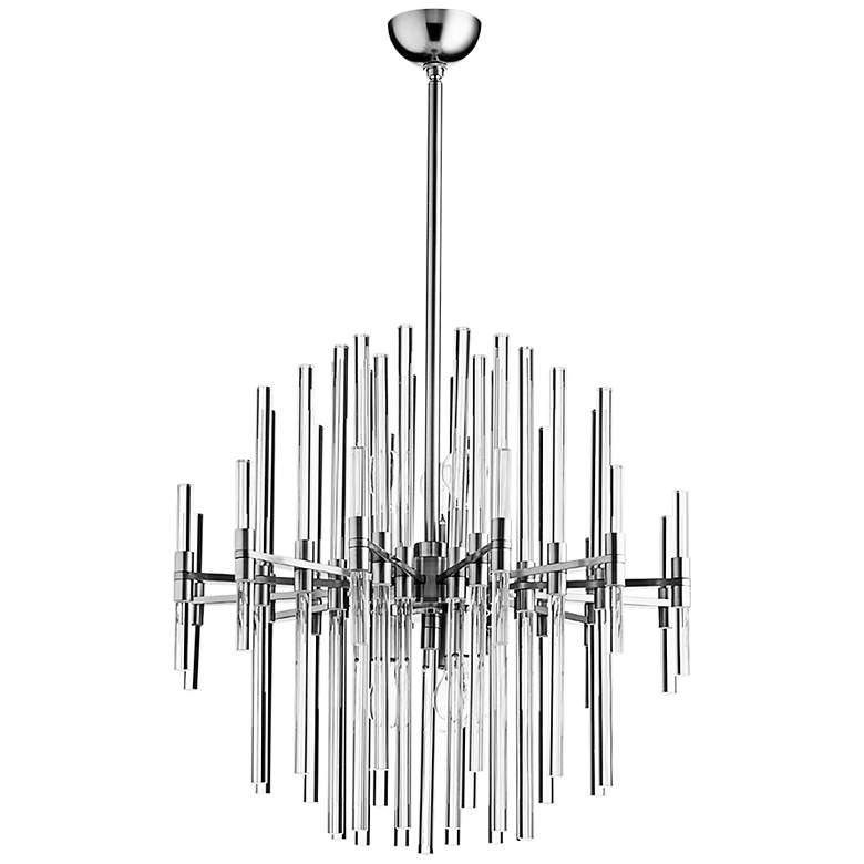 "Quebec 22"" Wide Satin Nickel Glass 6-Light Pendant"