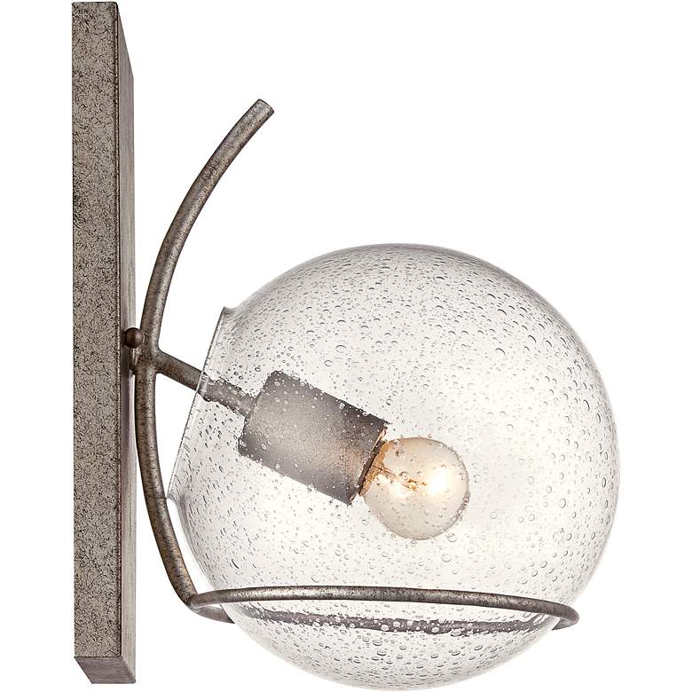 """Varaluz Watson 13""""H Silver Age Seedy Glass Wall Sconce"""
