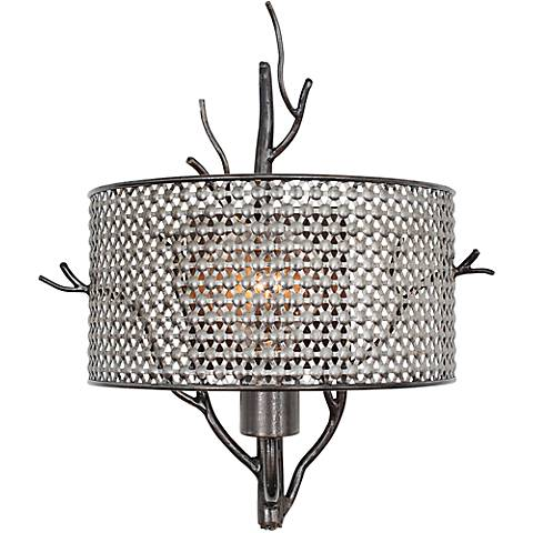 "Varaluz Treefold 14 1/2"" High Steel Mesh Wall Sconce"