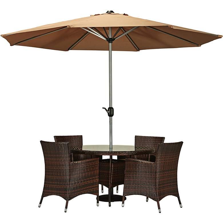 Gita Dark Brown Wicker 6-Piece Outdoor Dining Set