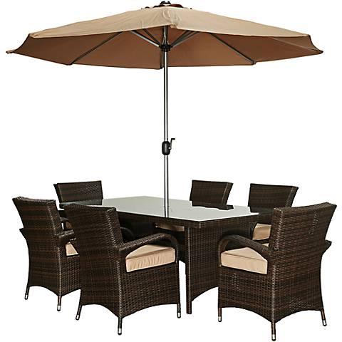 Bora Dark Brown Wicker8-Piece Outdoor Dining Set