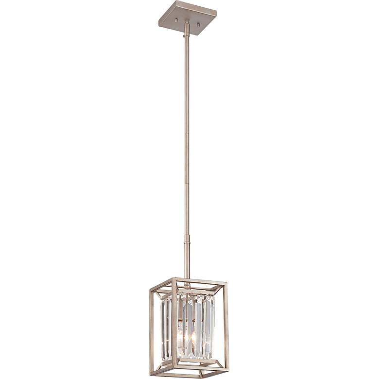 "Linares 6 1/2"" Wide Aged Platinum Mini-Pendant Light"
