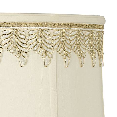 Metallic White-Gold Embroidered Leaf Shade Trim - 3 Yards