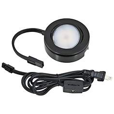 Puck lights line voltage 120v under cabinet lights lamps plus mvp black under cabinet led single puck light plug in kit mozeypictures Gallery
