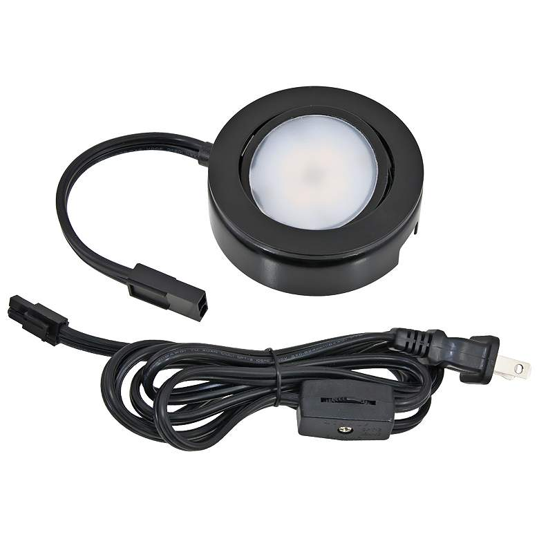 Mvp Black Under Cabinet Led Single Puck Light Plug In Kit