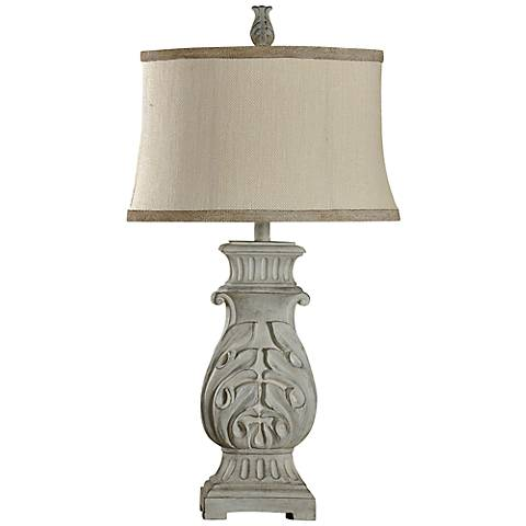 Cassopolis Hand-Carved Distressed Gray Table Lamp