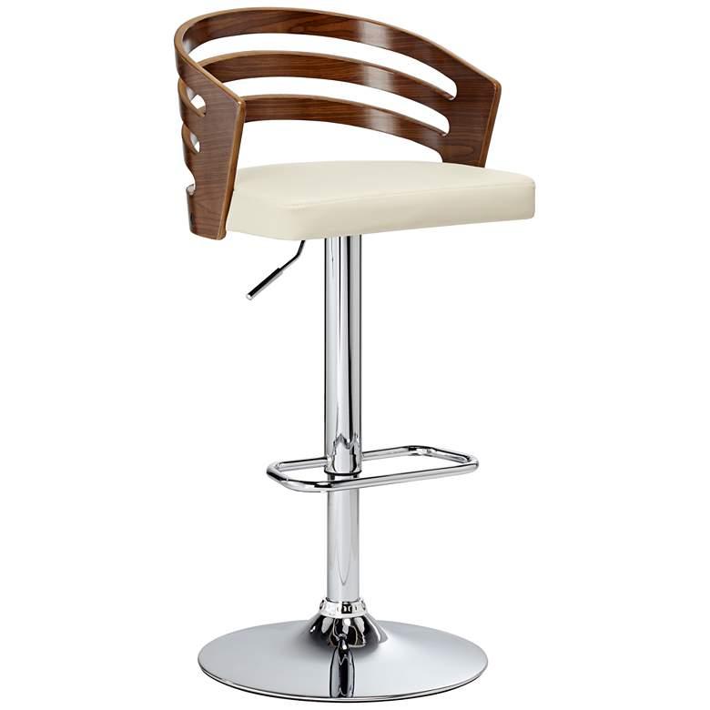 Adele Cream Faux Leather Adjustable Swivel Modern Bar Stool