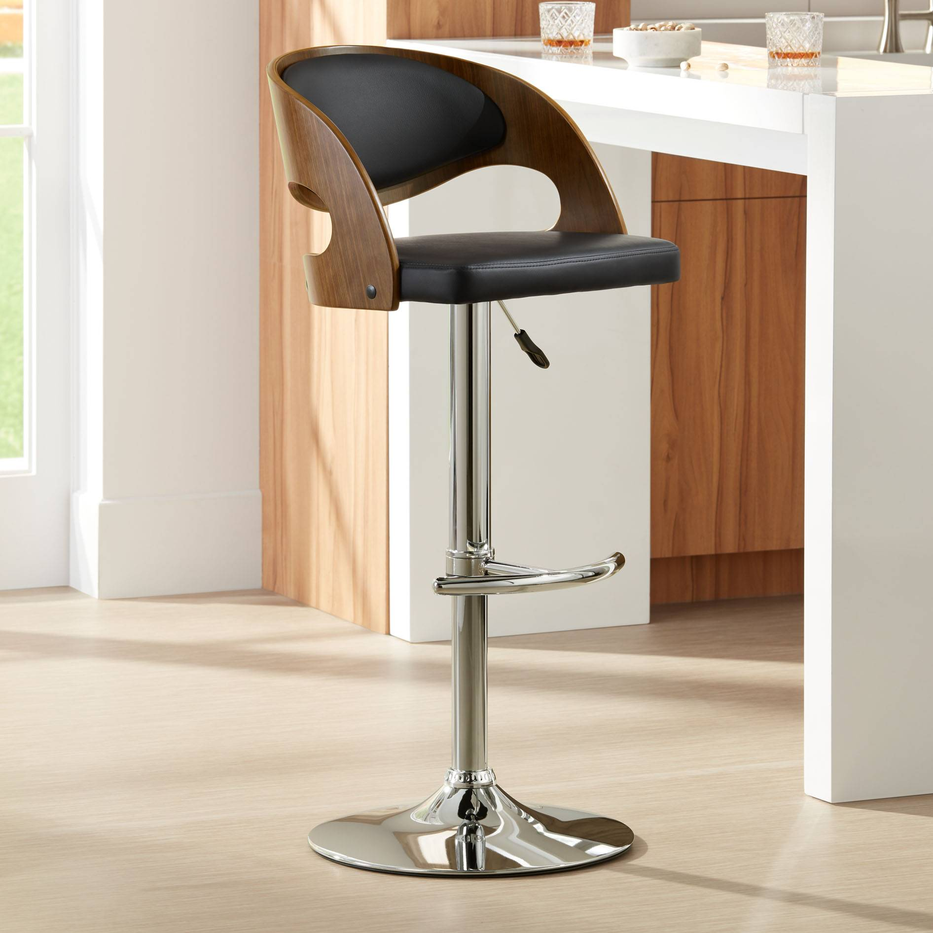 Astonishing Details About Malibu Black Faux Leather Adjustable Swivel Bar Stool Lamtechconsult Wood Chair Design Ideas Lamtechconsultcom