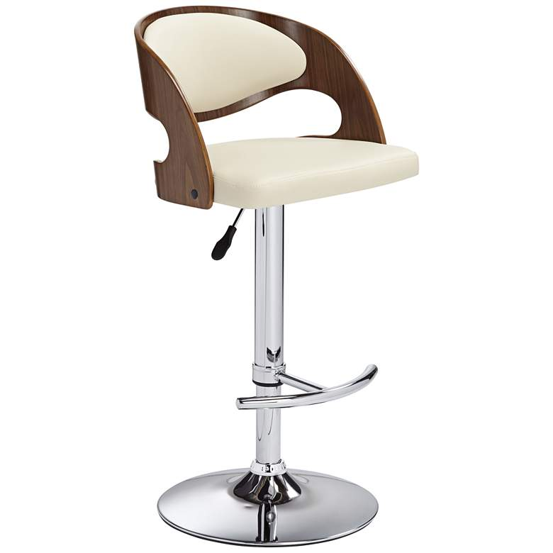 Malibu Cream Faux Leather Adjustable Swivel Bar Stool