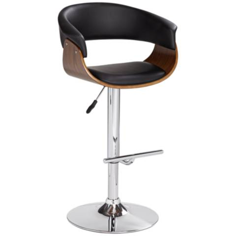 Francesca Black Faux Leather Adjustable Swivel Barstool