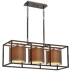 "Conroe 37"" Wide Bronze Metal Kitchen Island Light Chandelier"