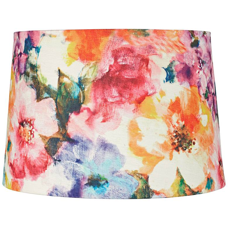Watercolor Flower Print Drum Lamp Shade 14x16x11 (Spider)