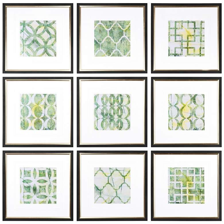 "Uttermost Metric Links 9-Piece 22 3/4"" Square Wall Art Set"