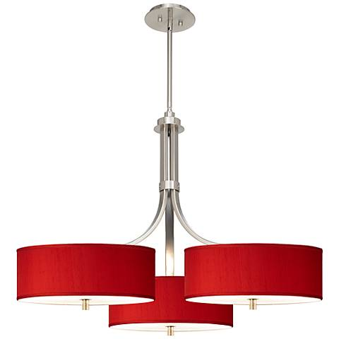 """China Red Textured Silk 36"""" Wide Triple Shade Pendant"""