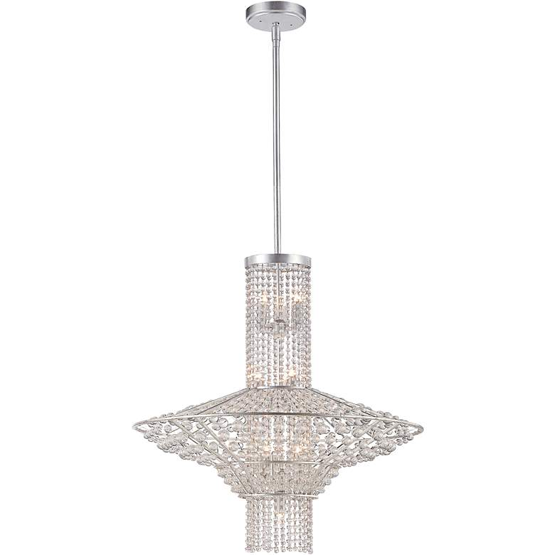 "Saybrook 24"" Wide 10-Light Catalina Silver Beaded Pendant"