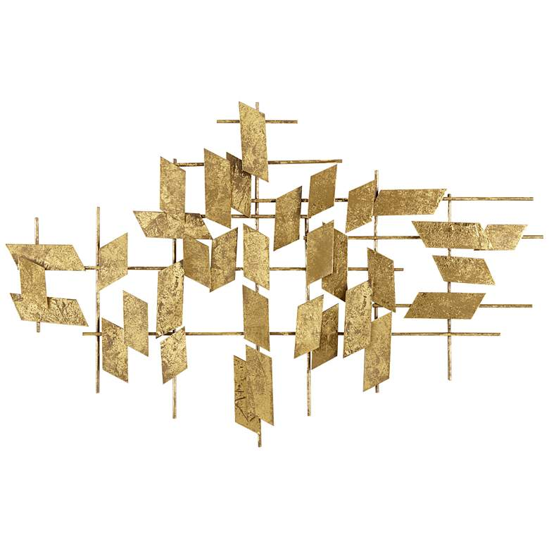 """Abstract Geometric Shapes 37 1/4"""" Wide Metal Wall Art"""