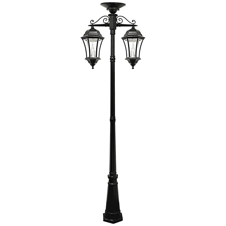 "Victorian 90"" High Black 2-Light Solar LED Post Light"